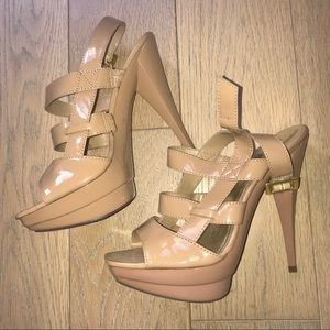 NWOT Nude Patent Leather Caged Heels